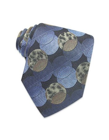 Roberto Cavalli Blue Circles and Leopard Woven Silk Tie